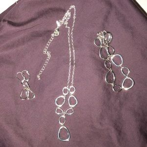 Silver necklace, bracelet and earrings